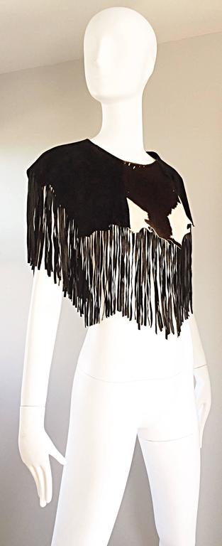Amazing Vintage Ricky Nell Leather + Suede + Cow Hide Fringed Boho Bib Collar  4