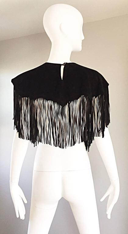 Amazing Vintage Ricky Nell Leather + Suede + Cow Hide Fringed Boho Bib Collar  8