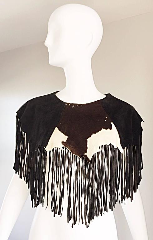 Amazing Vintage Ricky Nell Leather + Suede + Cow Hide Fringed Boho Bib Collar  9