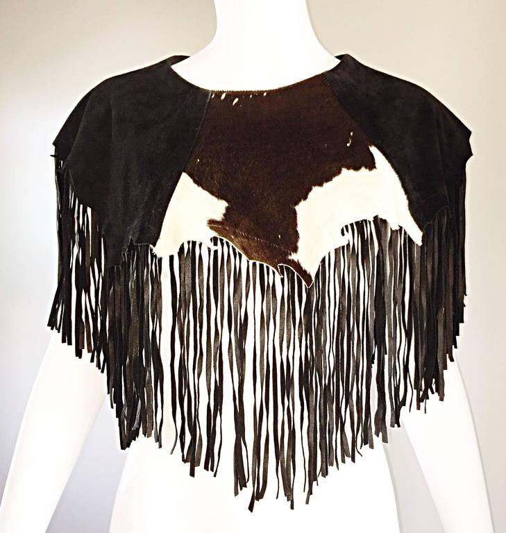 Amazing Vintage Ricky Nell Leather + Suede + Cow Hide Fringed Boho Bib Collar  6