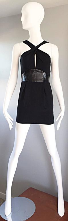 Brand New Badgley Mischka Size 0 Black Jersey + Leather Sexy Cut Out Mini Dress 2