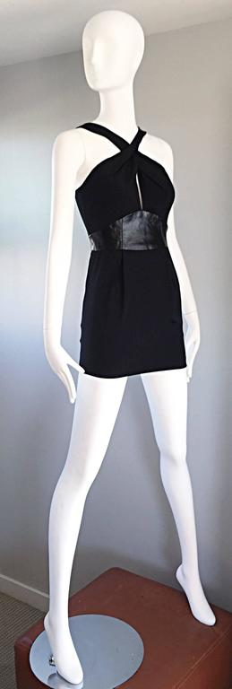 Brand New Badgley Mischka Size 0 Black Jersey + Leather Sexy Cut Out Mini Dress 5