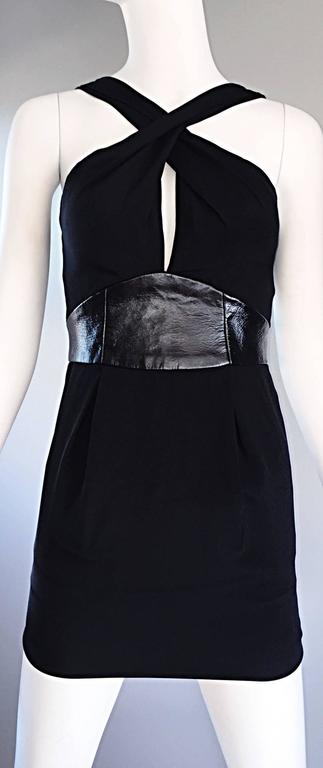 Brand New Badgley Mischka Size 0 Black Jersey + Leather Sexy Cut Out Mini Dress 3