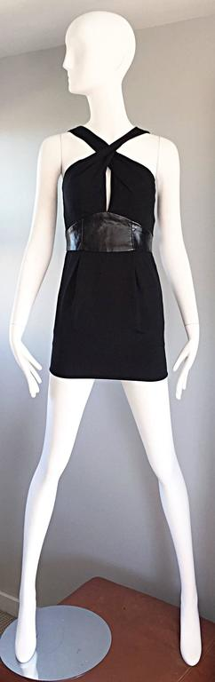 Brand New Badgley Mischka Size 0 Black Jersey + Leather Sexy Cut Out Mini Dress 7
