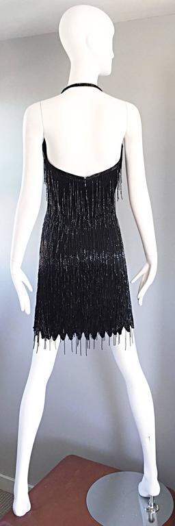 Incredible Vintage Black Silk Beaded Fringe Size 10 Flapper Style Halter Dress 3