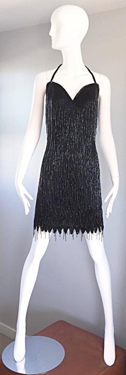 Incredible Vintage Black Silk Beaded Fringe Size 10 Flapper Style Halter Dress 2