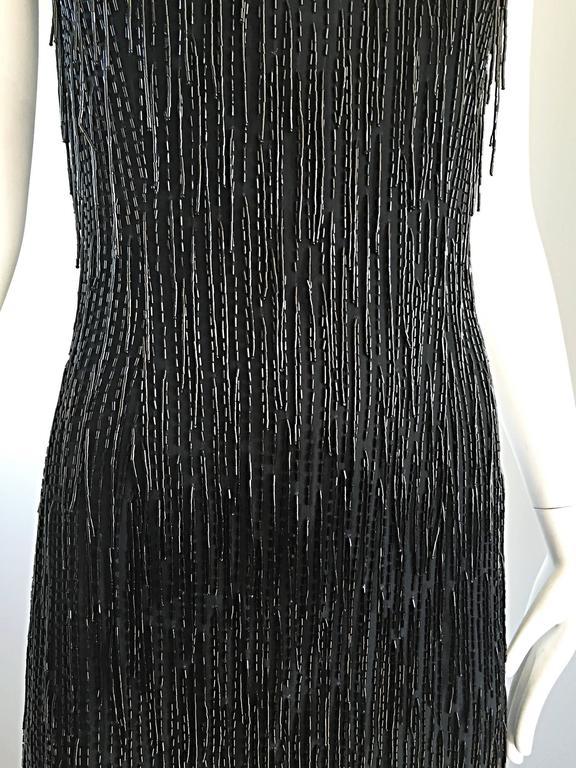 Incredible Vintage Black Silk Beaded Fringe Size 10 Flapper Style Halter Dress 6