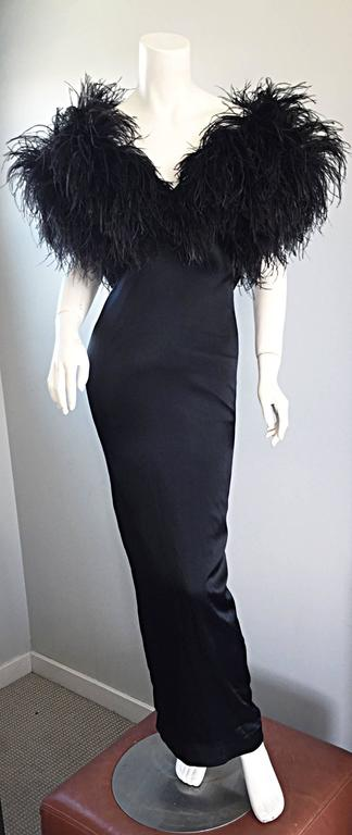 Sensational Vintage Holly's Harp 1970s Black Silk + Ostrich Feathers 70s Gown  8