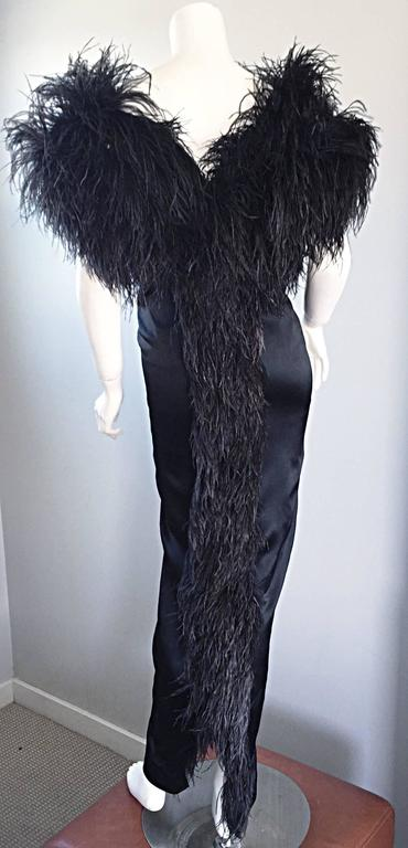Sensational Vintage Holly's Harp 1970s Black Silk + Ostrich Feathers 70s Gown  2