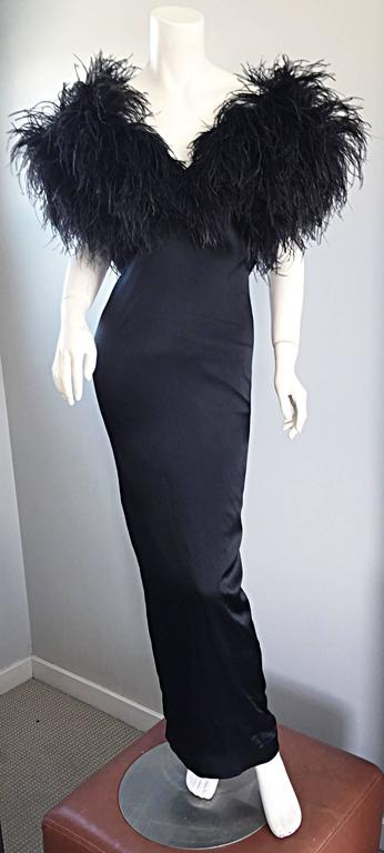 Sensational Vintage Holly's Harp 1970s Black Silk + Ostrich Feathers 70s Gown  3
