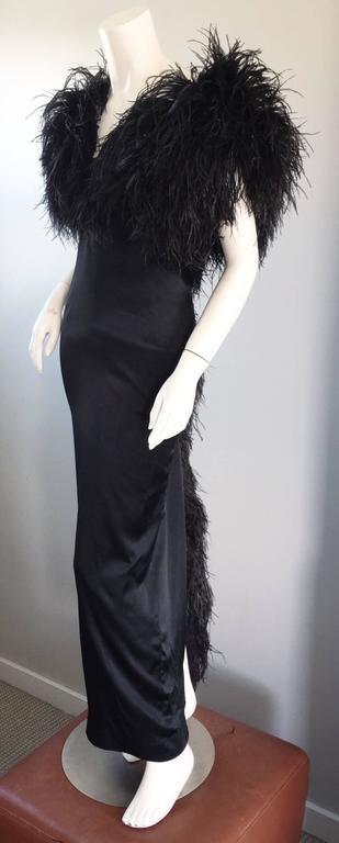 Sensational Vintage Holly's Harp 1970s Black Silk + Ostrich Feathers 70s Gown  7
