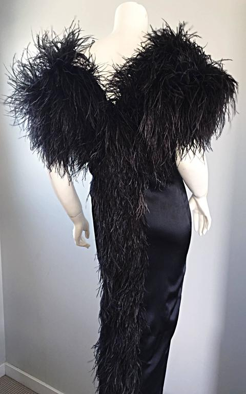 Sensational Vintage Holly's Harp 1970s Black Silk + Ostrich Feathers 70s Gown  6