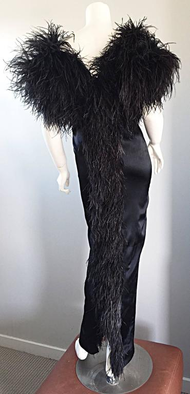 Sensational Vintage Holly's Harp 1970s Black Silk + Ostrich Feathers 70s Gown  9