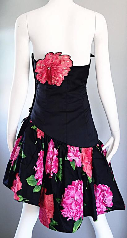Victor Costa for Saks 5th Ave Vintage 1980s Strapless Avant Garde Cocktail Dress 7