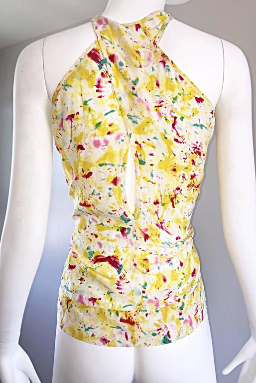 Emilio Pucci Brand New Rare Sold Out ' Splatter Paint ' Silk Sleeveless Blouse 2