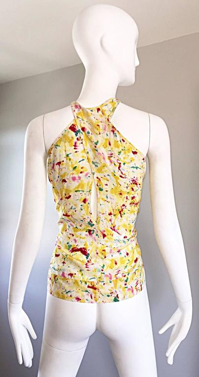 Emilio Pucci Brand New Rare Sold Out ' Splatter Paint ' Silk Sleeveless Blouse 5