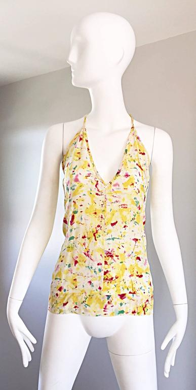 Emilio Pucci Brand New Rare Sold Out ' Splatter Paint ' Silk Sleeveless Blouse 3