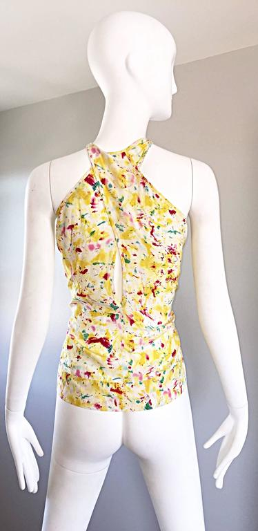 Emilio Pucci Brand New Rare Sold Out ' Splatter Paint ' Silk Sleeveless Blouse 8