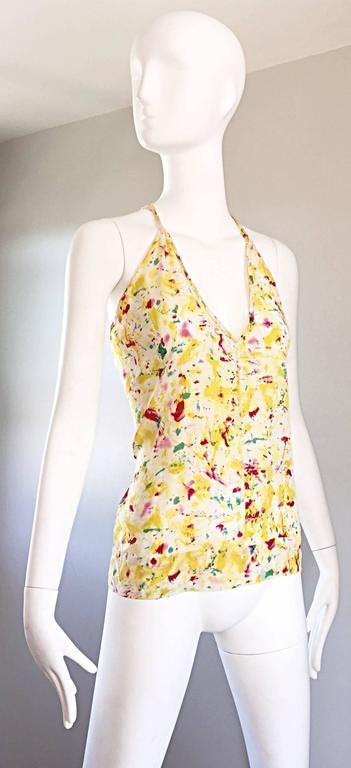 Emilio Pucci Brand New Rare Sold Out ' Splatter Paint ' Silk Sleeveless Blouse 6