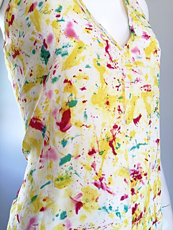 Emilio Pucci Brand New Rare Sold Out ' Splatter Paint ' Silk Sleeveless Blouse 7