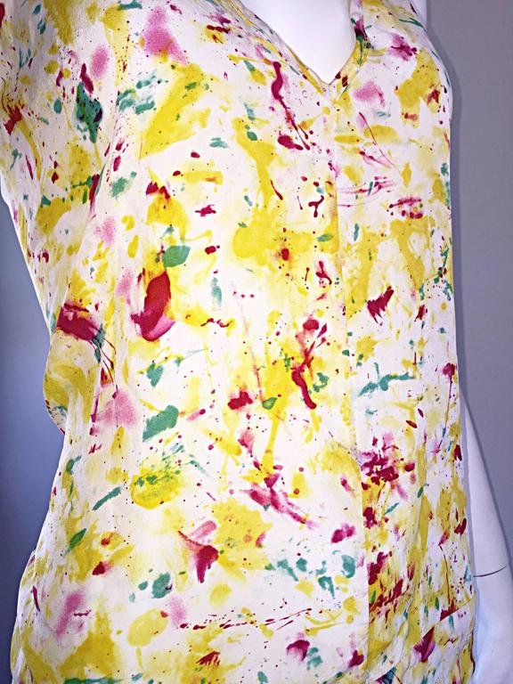 Emilio Pucci Brand New Rare Sold Out ' Splatter Paint ' Silk Sleeveless Blouse 4