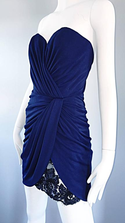 Women's Vicky Tiel Couture Vintage Navy Blue Strapless Jersey + Lace + Sequin Sexy Dress For Sale