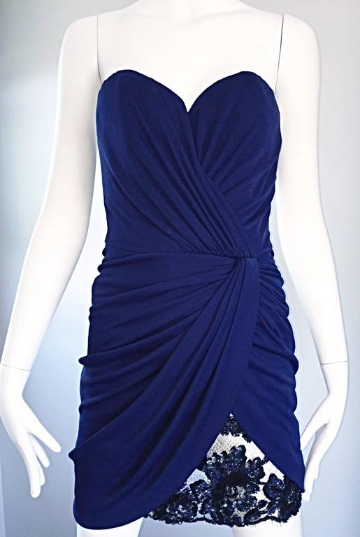 Vicky Tiel Couture Vintage Navy Blue Strapless Jersey + Lace + Sequin Sexy Dress For Sale 2