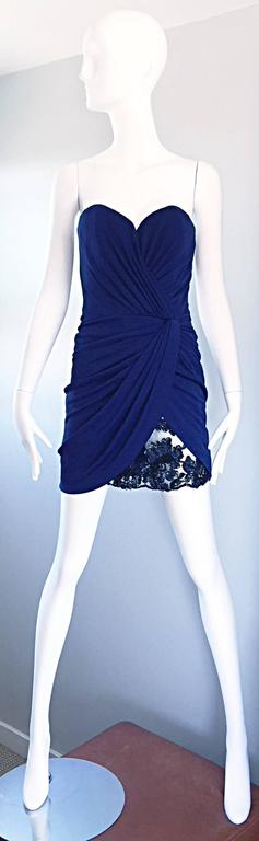 Vicky Tiel Couture Vintage Navy Blue Strapless Jersey + Lace + Sequin Sexy Dress For Sale 4