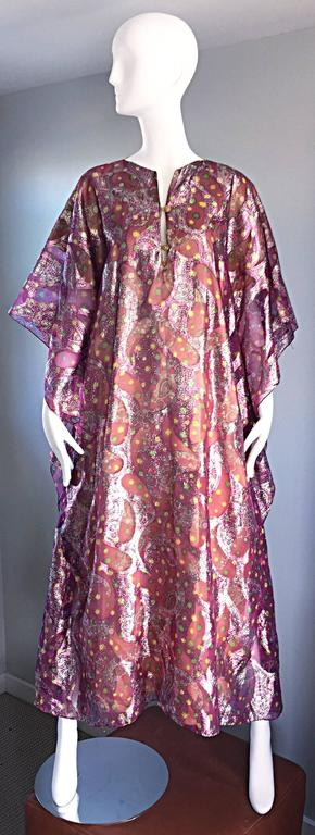 Amazing vintage 1960s caftan / kaftan by Hollywood designer GEORGIE KEYLOUN!!! Amazing metallic chiffon paisley in beautiful hues of purple, pink, gold, silver, green and yellow! So much detail went into the construction of this beauty! Functional