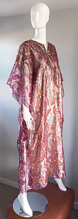 Georgie Keyloun Rare 1960s Vintage Chiffon Paisley Psychedelic 60s Caftan Dress 3