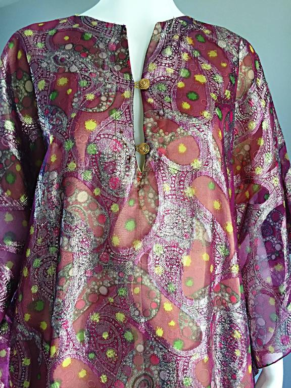 Georgie Keyloun Rare 1960s Vintage Chiffon Paisley Psychedelic 60s Caftan Dress In Excellent Condition For Sale In San Francisco, CA