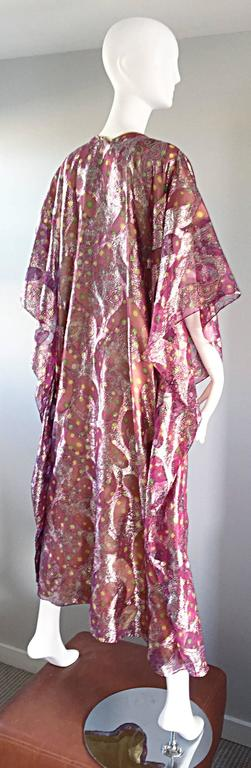 Women's Georgie Keyloun Rare 1960s Vintage Chiffon Paisley Psychedelic 60s Caftan Dress For Sale