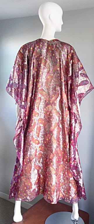 Georgie Keyloun Rare 1960s Vintage Chiffon Paisley Psychedelic 60s Caftan Dress For Sale 1
