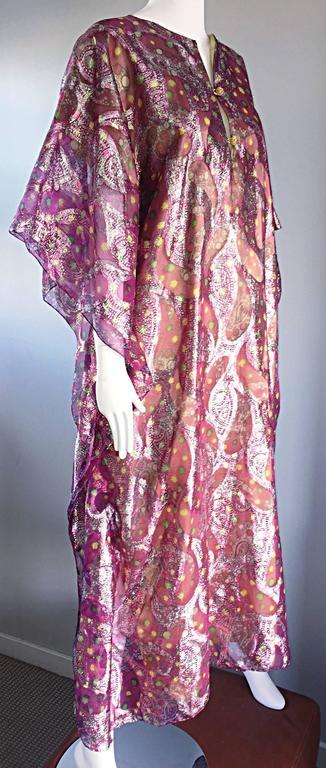 Georgie Keyloun Rare 1960s Vintage Chiffon Paisley Psychedelic 60s Caftan Dress For Sale 2