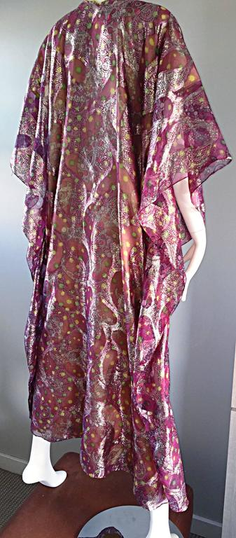 Georgie Keyloun Rare 1960s Vintage Chiffon Paisley Psychedelic 60s Caftan Dress For Sale 3