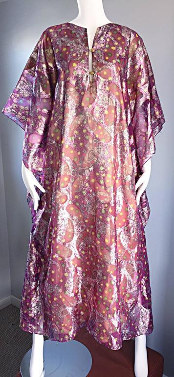 Georgie Keyloun Rare 1960s Vintage Chiffon Paisley Psychedelic 60s Caftan Dress For Sale 4