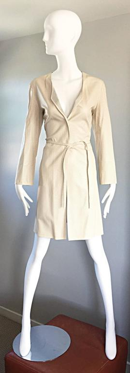 Vintage Giorgio Armani Collezioni Ivory Beige Perforated Leather Trench Jacket  2