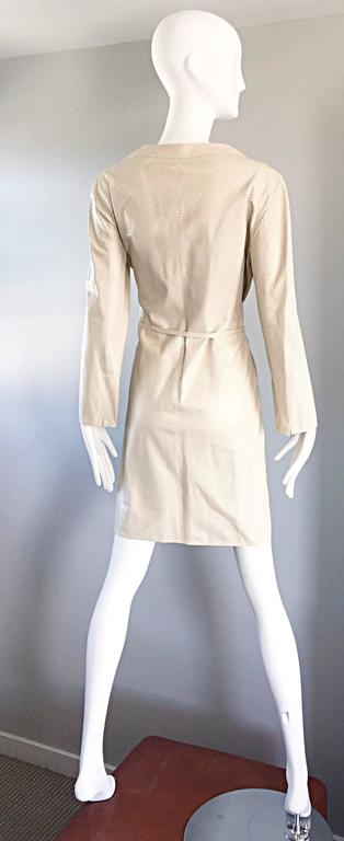 Vintage Giorgio Armani Collezioni Ivory Beige Perforated Leather Trench Jacket  4