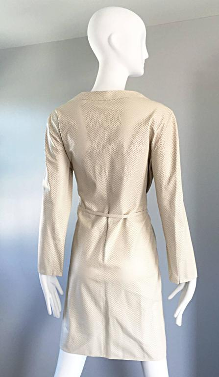 Vintage Giorgio Armani Collezioni Ivory Beige Perforated Leather Trench Jacket  8