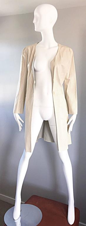 Vintage Giorgio Armani Collezioni Ivory Beige Perforated Leather Trench Jacket  6