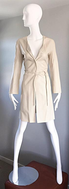 Vintage Giorgio Armani Collezioni Ivory Beige Perforated Leather Trench Jacket  9