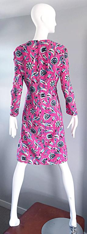 Women's Vintage Adele Simpson Plus Size 1960s Hot Pink + Silver + Blue Metallic Dress For Sale
