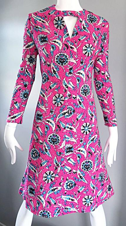 Vintage Adele Simpson Plus Size 1960s Hot Pink + Silver + Blue Metallic Dress For Sale 1