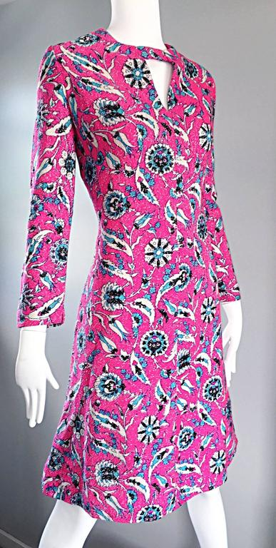 Vintage Adele Simpson Plus Size 1960s Hot Pink + Silver + Blue Metallic Dress For Sale 2