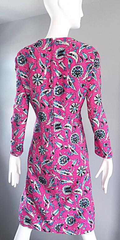 Vintage Adele Simpson Plus Size 1960s Hot Pink + Silver + Blue Metallic Dress For Sale 3