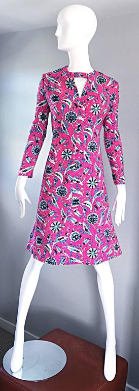 Vintage Adele Simpson Plus Size 1960s Hot Pink + Silver + Blue Metallic Dress For Sale 4
