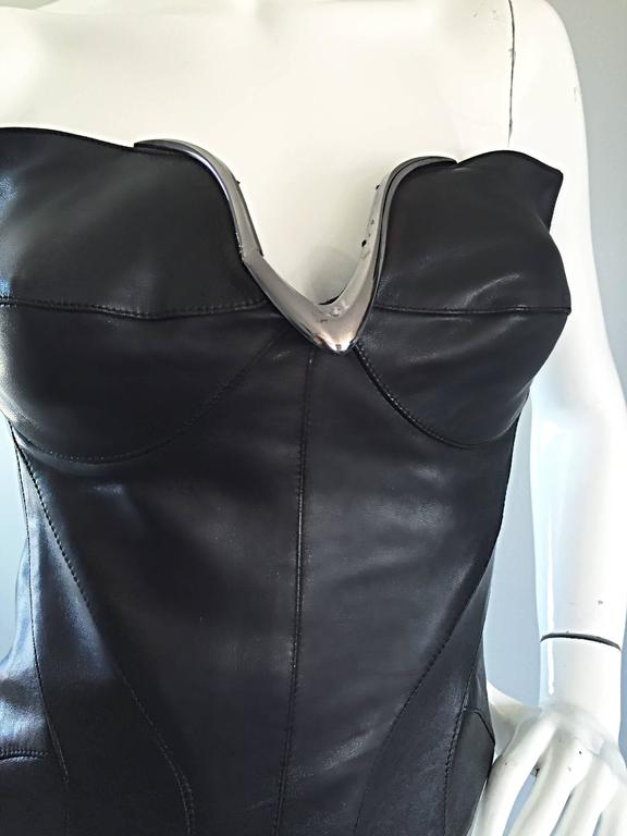Thierry Mugler Couture Iconic Black Leather + Silver Avant Garde Bustier Corset 3