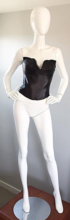 Thierry Mugler Couture Iconic Black Leather + Silver Avant Garde Bustier Corset 4