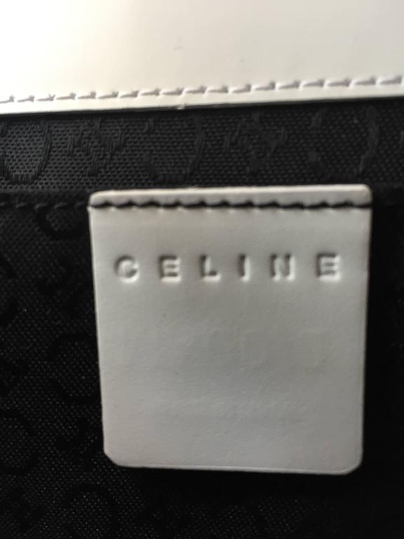Vintage Celine New White Leather Structured Shoulder Bag Convertible Clutch  For Sale 5