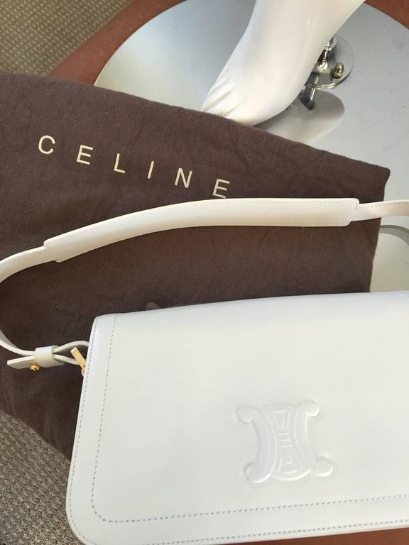 Vintage Celine New White Leather Structured Shoulder Bag Convertible Clutch  For Sale 3
